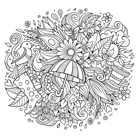 Cartoon cute doodles hand drawn Spring illustration. Line art detailed composition. Lots of objects. Funny vector artwork Vectores