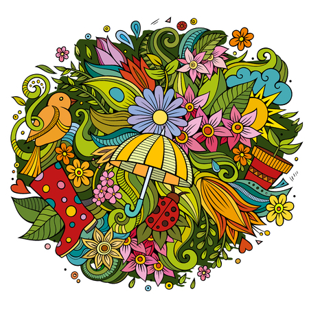 Cartoon cute doodles hand drawn Spring illustration. Colorful detailed composition. Lots of objects. Funny vector artwork