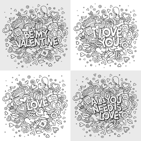 Set of vector hand drawn Doodle Happy Valentines Day illustrations. Colorful detailed design backgrounds with objects and symbols. All objects are separated