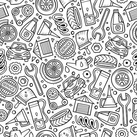 Cartoon schattig hand getekend automotive naadloze patroon.