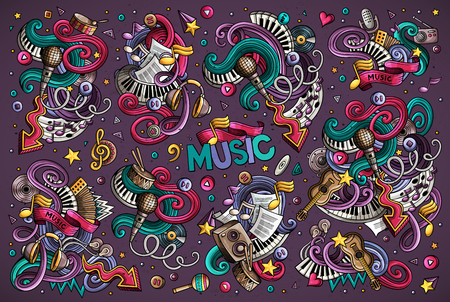 Vector doodles set of music combinations of objects
