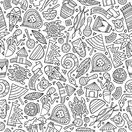 Cartoon cute hand drawn African seamless pattern. Line art detailed, with lots of objects background. Endless funny vector illustration