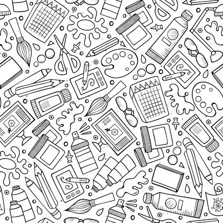 Cartoon niedlich Hand gezeichnetes Design und Kunst nahtlose Muster Standard-Bild - 93924852
