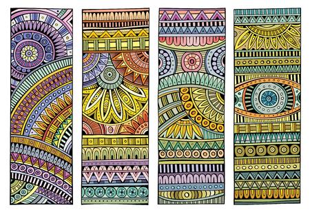 Etniczne ręcznie rysowane wektor zestaw paski
