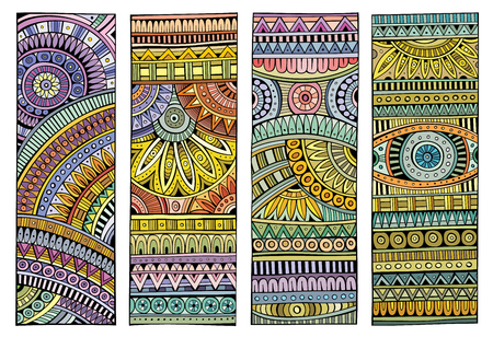 Set di strisce vettoriali disegnati a mano etnici