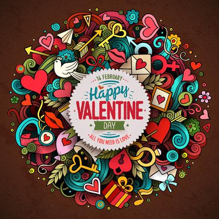 Cartoon vector hand drawn Doodle Happy Valentines Day illustration