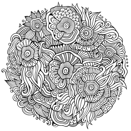 Abstract decorative floral ethnic doodles composition