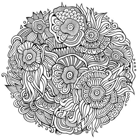 Abstracte decoratieve bloemen etnische krabbelsamenstelling Stock Illustratie