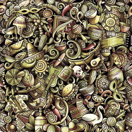 Cartoon cute doodles Latin America seamless pattern Illustration