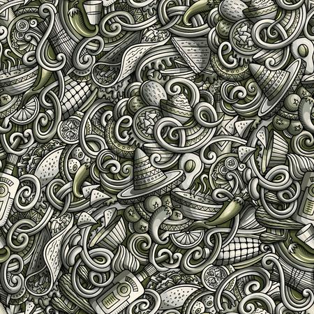 Cartoon mexican food doodles seamless pattern