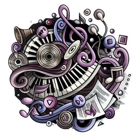 Cartoon cute doodles Music illustration