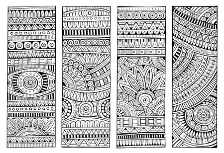 Ethnic hand drawn vector stripes set. Abstract line art decorative banners.