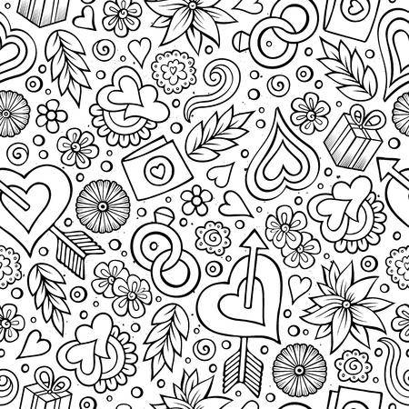 Cartoon cute hand drawn Valentines Day seamless pattern