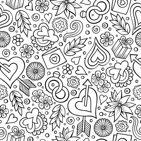 Cartoon cute hand drawn Valentines Day seamless pattern