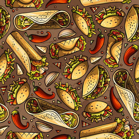 Cartoon hand-drawn latin american, mexican food seamless pattern. Lots of symbols, objects and elements. Perfect funny vector background.