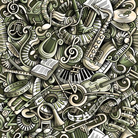 Cartoon süße Kritzeleien Klassische Musik nahtlose Muster. Monochrom detailliert, mit vielen Objekten Hintergrund. Alle Elemente trennen sich. Hintergrund mit Musikinstrumentgegenständen Standard-Bild - 93960259