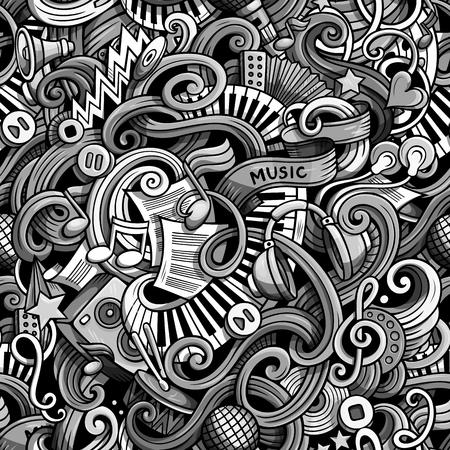 Cartoon schattig doodles hand getrokken muzikale naadloze patroon. Zwart-wit gedetailleerd, met veel objecten achtergrond. Eindeloze grappige vectorillustratie. Achtergrond met muzieksymbolen en items