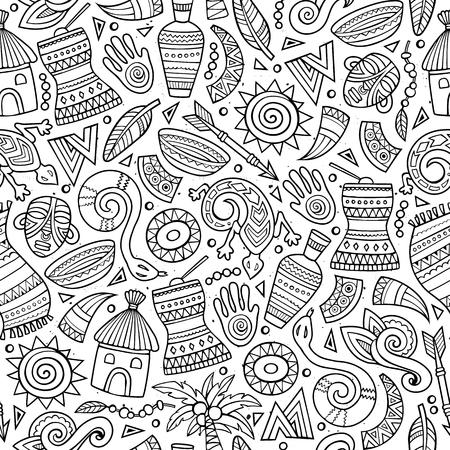 Cartoon schattig hand getekend Afrikaanse naadloze patroon. Zeer fijne tekeningen, met veel objecten achtergrond. Eindeloze grappige vectorillustratie