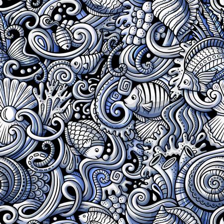 水の生命のテーマシームレスなパターンの下の主題に漫画の手描きの落書き。モノクロの詳細、オブジェクトベクトルの背景の多くを持つ