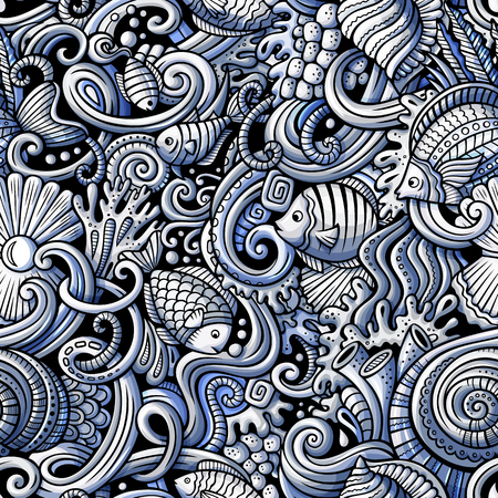 Cartoon hand-drawn doodles on the subject of under water life theme seamless pattern. Monochrome detailed, with lots of objects vector background Фото со стока - 93960266