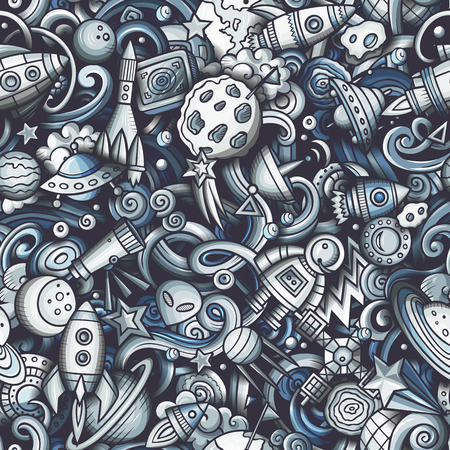 Cartoon cute doodles Space seamless pattern. Monochrome detailed, with lots of objects background. All objects separate. Backdrop with cosmic symbols and items Illustration