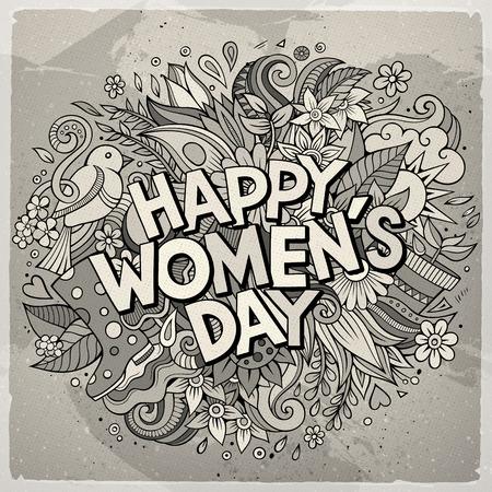 만화 귀여운 낙서 손으로 그려진 행복 한 여자 하루 비문. 톤된 자세한 그림입니다. 많은 개체 배경. 재미있는 벡터 휴가 아트웍 일러스트