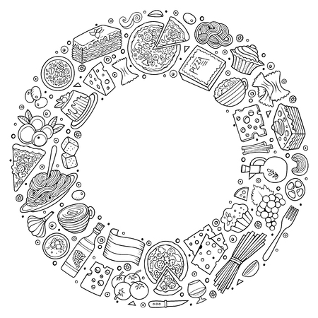 Line art vector hand drawn set of Italian food cartoon doodle objects, symbols and items. Round frame composition