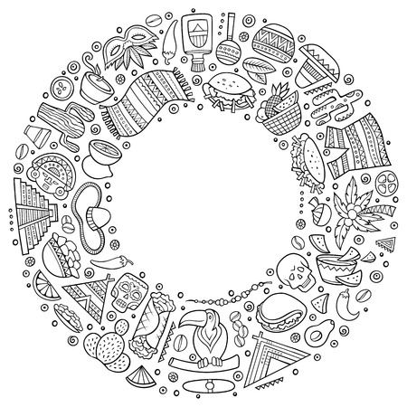 Line art vector hand drawn set of Latin American cartoon doodle objects, symbols and items. Round frame composition
