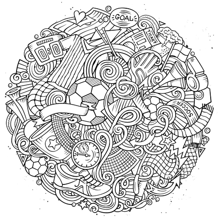 Cartoon vector doodles Football illustration Ilustração