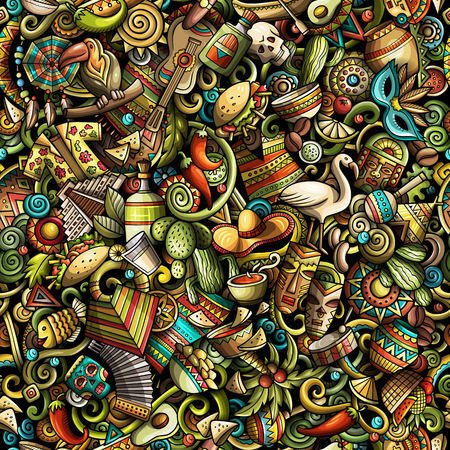 Cartoon süße Gekritzel Lateinamerika nahtlose Muster. Buntes einzeln aufgeführtes, mit Lots Nachrichtenhintergrund. Alle Objekte trennen sich. Hintergrund mit lateinamerikanischen Symbolen und Gegenständen Standard-Bild - 94049878