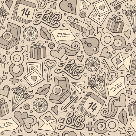 Cartoon cute hand drawn Valentines Day seamless pattern. Illustration with lots of elements. Endless funny vector background