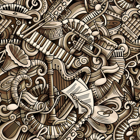 Cartoon cute doodles Classical music seamless pattern. Monochrome detailed, with lots of objects background. All elements separate. Backdrop with musical instruments objects 일러스트