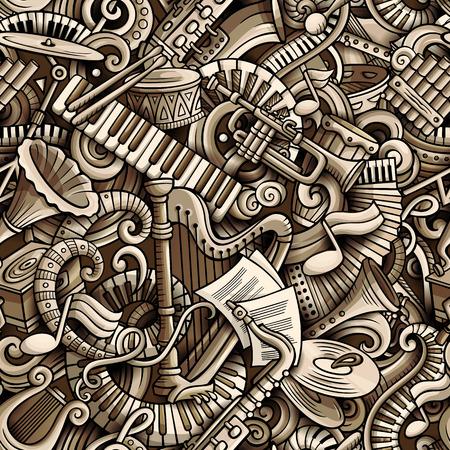 Modello senza cuciture di musica classica di scarabocchi svegli del fumetto. Monocromatico dettagliato, con un sacco di oggetti sullo sfondo. Tutti gli elementi si separano. Sfondo con oggetti di strumenti musicali Archivio Fotografico - 94050320
