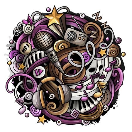 Cartoon schattig doodles hand getrokken muziek illustratie. Kleurrijk gedetailleerd, met veel objecten achtergrond. Alle items zijn gescheiden. Grappig vectorkunstwerk