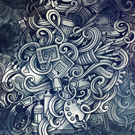 Doodles graphic design illustration. Creative art background. Toned stylish raster wallpaper.