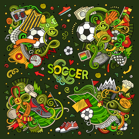 Doodles cartoon set of football combinations of objects vector illustration.