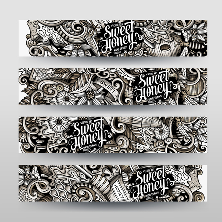 Cartoon graphics vector hand drawn doodles honey horizontal banners.