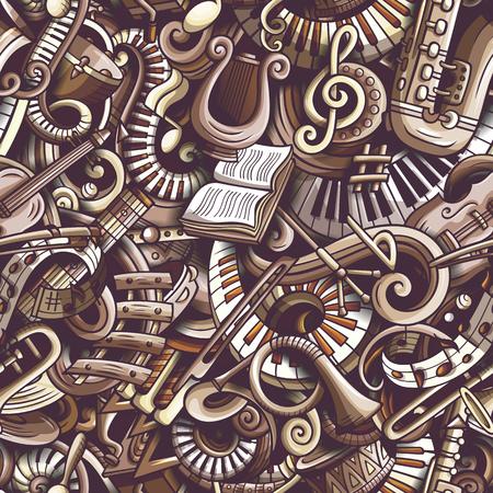 Modello senza cuciture di musica classica di scarabocchi svegli del fumetto. Archivio Fotografico - 94992442