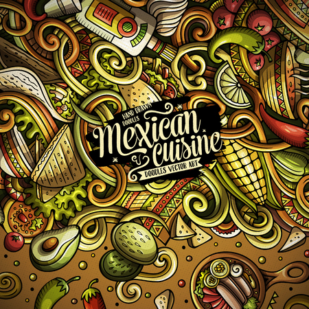 Cartoon mexican food doodles frame design Illustration