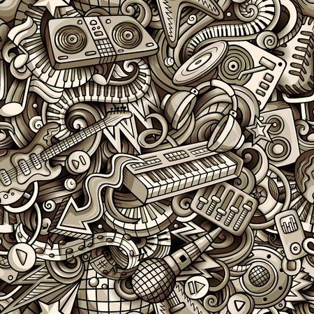 Cartoon cute doodles disco music seamless pattern.