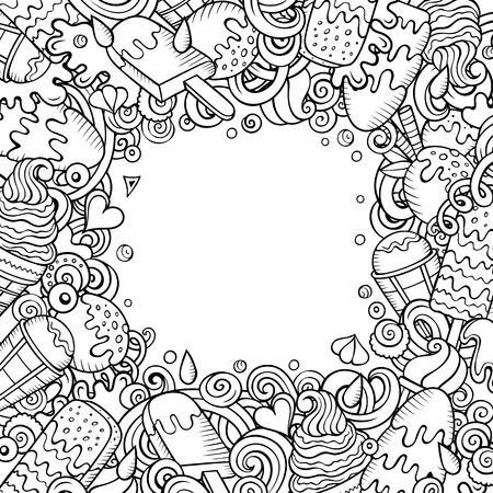 Cartoon vector hand-drawn doodles Ice Cream frame illustration. Line art card border, with lots of separated objects