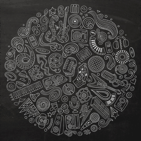 Set of vector cartoon doodle musical objects collected in a circle