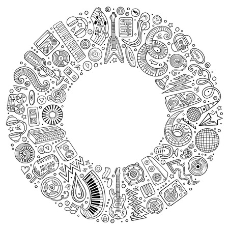 Set of vector cartoon doodle musical objects collected in a round border Illustration