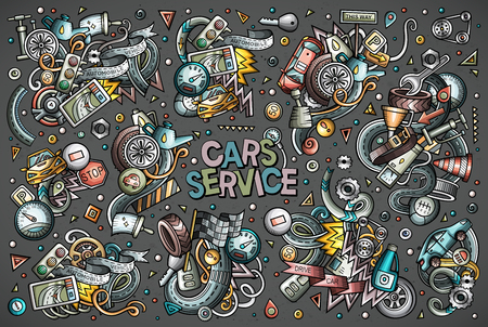 Cartoon set of automobile vector objects.