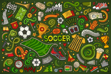 Doodles vector cartoon set of football objects.