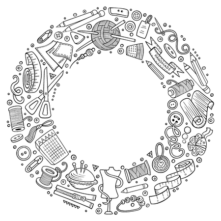 Set handgemaakte cartoon doodle objecten, symbolen en items. Vector Illustratie