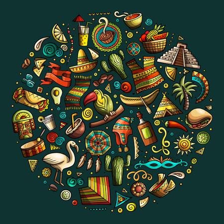 Ensemble de dessin animé doodle dessiné main coloré vecteur d'Amérique latine.