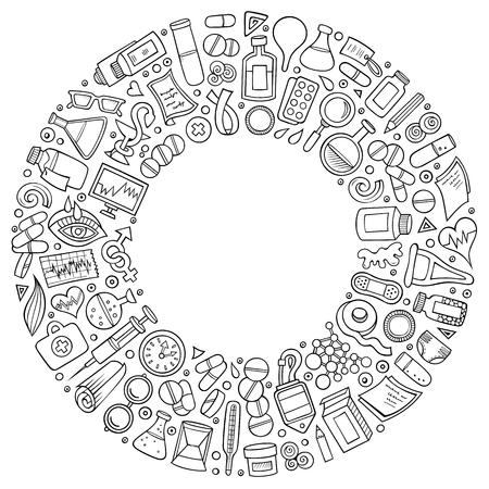 Set of medical vector cartoon doodle objects. Illusztráció