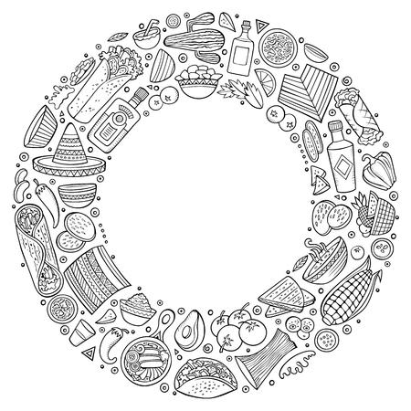 Conjunto de dibujos animados de comida mexicana doodle objetos, símbolos y artículos. Ilustración de vector