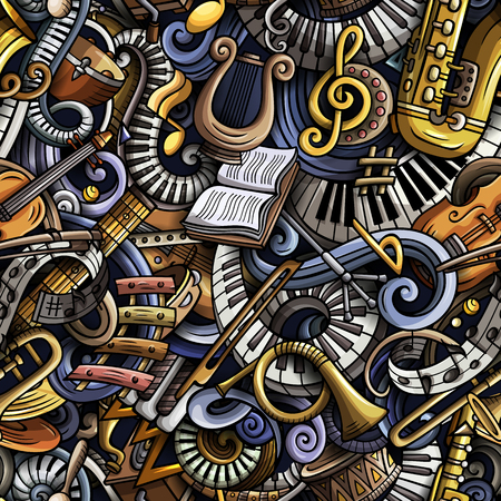 Cartoon cute doodles classical music seamless pattern.